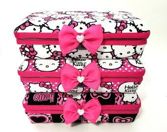 Hello Kitty fabric Makeup organizer box case storage pink bow cheetah heart travel pen holder brush