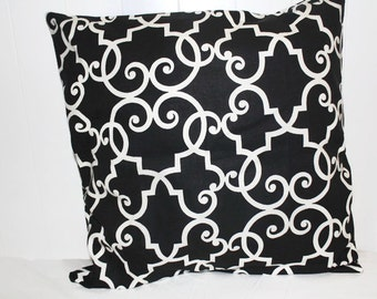Decorative 18x18, 16x16  Savell Millcreek Black and  White Lattice Pillow Cover
