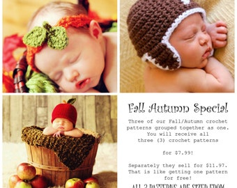 Child Baby HAT Easy CROCHET PATTERNS Fall Autumn Football, Apple, Pumpkin Leaves 3 in One
