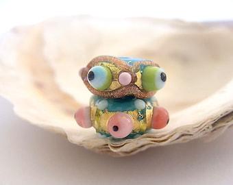 2 Petit Golden Beads Handmade Lampwork