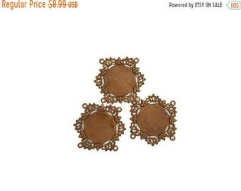 60OFFSALE Bronze Shimmer Brown Brass Victorian Style Bracelet Connector Four Loops Stamping 20 mm center Qty 3 Made in the USA