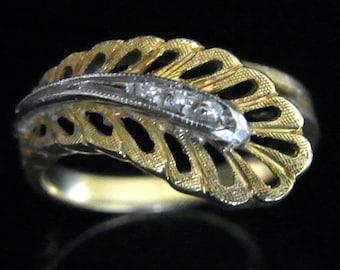 Retro Diamons 18k Yellow Gold Paisley Leaf Ring Band Estate Vintage Mid Century