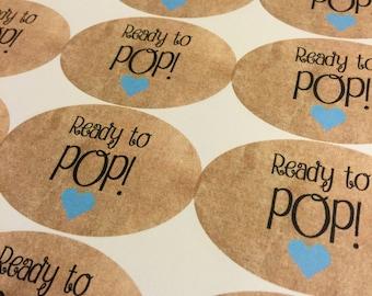 Ready To Pop Stickers. Custom Stickers. Sticker Label. Baby Shower. New baby. Baby Shower Stickers. Ready to Pop. Ready to POP Baby Shower.