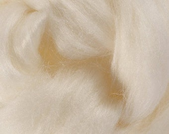 Natural White Merino Tussah Silk Combed Top Wool One Ounce for Felting and Spinning