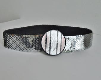 80s Vtg. Elastic Metal Belt // Silver // Mother of Pearl Buckle