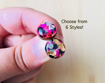 Cougar Glitter Resin / Wood Stud Earrings • Various Sizes • Surgical Steel • Hypoallergenic • Pink • Gold • Black • Glossy • Statement