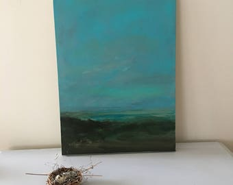 Original Painting- Blue/Brown Marsh - Night atmospheric  -24 x 18 Stretched Canvas- 1-1/2 Inch Gallery Wrapped Painted Sides