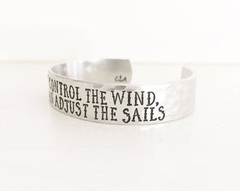 You Can't Contol The Wind But You Can Adjust The Sails, Nautical Jewelry, Nautical Bracelet, Sailing Jewelry, Ship Jewelry