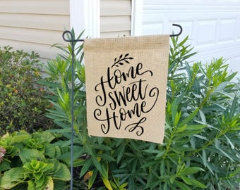 Burlap garden flag, burlap yard flag, welcome garden flag, garden flag, spring garden flag, home sweet home, welcome flag, welcome