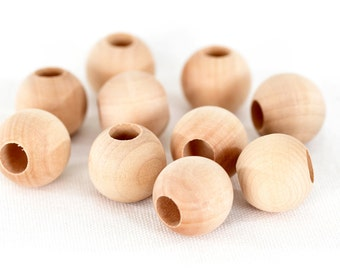 22mm round wood beads with 9mm hole - 10 PACK