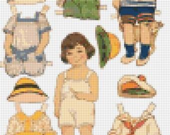 E-Pattern Vintage Paper Dolls Cross Stitch Pattern 05