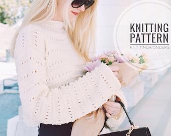 KNITTING PATTERN ⨯ Summer Sweater, Spring Fashion ⨯ Crop Top Sweater, Easy Knit Pattern ⨯ Spring Fashion, Summer Fashion Knit Pattern PDF