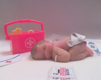 """Polymer Clay Babies """"Baby's First Shots at the Pediatrician's Office"""" Great Gift For your Pediatric Office or Nurse, Intern, Gender Neutral"""