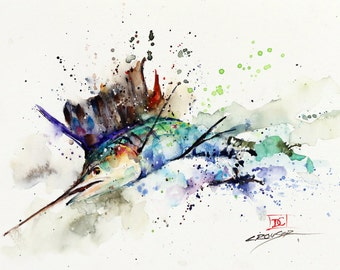 SAILFISH Watercolor Print, Fish Art, Marlin Painting,  by Dean Crouser