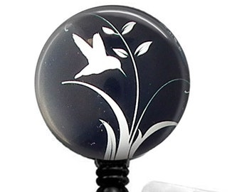 White Bird on Black Cabochon, Retractable ID Badge Reel, Name Badge Reel 31
