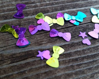Little Pink and Purple Confetti Hearts in metallic - 4mm - Girls Birthday Party Supplies and Decorations