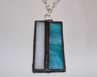 Teal & White Stained Glass