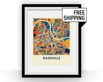 Nashville Map Print - Full Color Map Poster