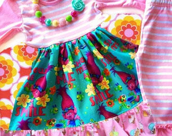 Trolls dress Rainbows cupcakes Momi boutique custom dress