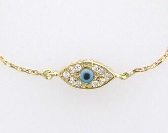 Evil Eye Bracelet - 14K Solid GOLD - Kelly Ripa, Celebrity Style Jewelry