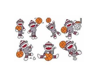 Basketball Sock Monkey Combo Counted Cross Stitch PDF Pattern