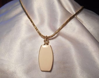 Liz Claiborne Cream Enamel Pendant Necklace