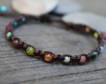 Adjustable Macrame Bracelet, Desert Calico, Colorful Bracelet, Macrame Jewelry, Teen Gift, Layering Bracelet, Boho Jewelry, Boho Bracelet
