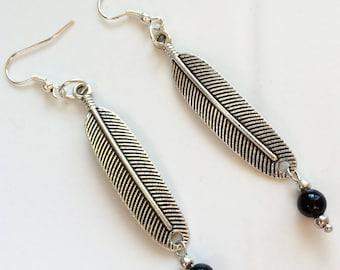 Woman's or Girl's Earrings, Feather Earrings, Charm Earrings, Metal Earrings, Everyday Earrings, Black Bead Earrings, Birthday Gift