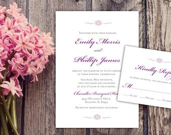 Elegant Script Wedding Invitation, Maroon Invitation, Romantic Wedding Invitation Set