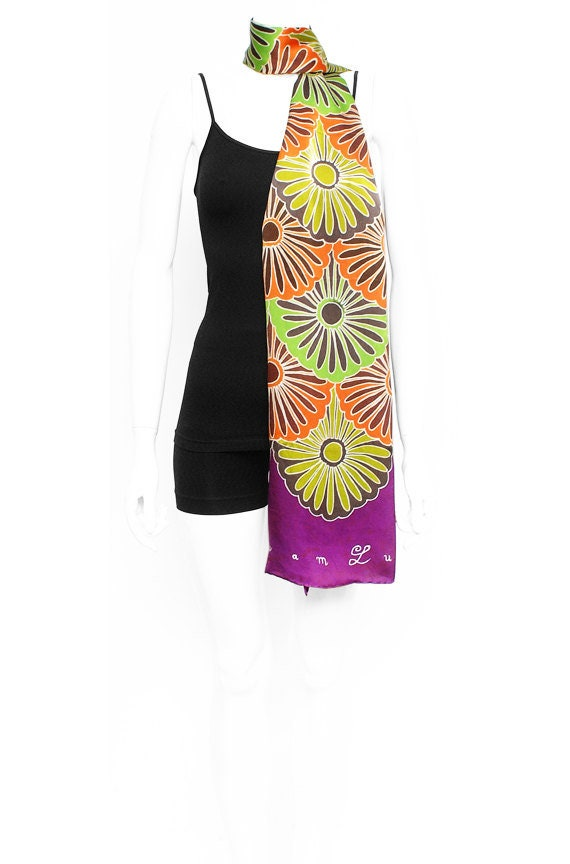 Kimono flower graphic design silk scarf colorfully hand painted