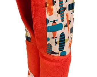 Airplanes Orange Hooded Towel