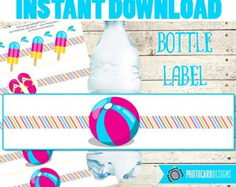 Pool Bottle Label, Pool Party, Pool Water Bottle label, Water Bottle, Pool Party decoration, Party, Digital, Printable, INSTAnT DoWNLOAD