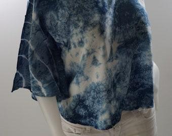 BL0140 Shibori Indigo Blouse Solf, Shibori blouse, tie dye light solf, Indigo Shibori Bluse, Shibori tie dye // beach cover up