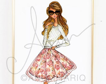Fashion Illustration Print, Fall Floral, 8x10""
