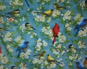 Song Birds in Apple Blossoms Fleece Fabric