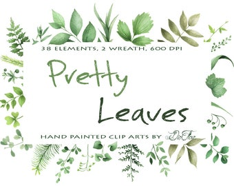 Greenery Clipart Leaf Leaves Woodland Vector Clip Art Green Decoration Watercolor Tiny Greens Wreath Garland Wedding Invitation Illustration