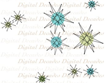 Franciscan Starburst Mid-Century Atomic Modern Star Background - Digital Image - Vintage Art Illustration