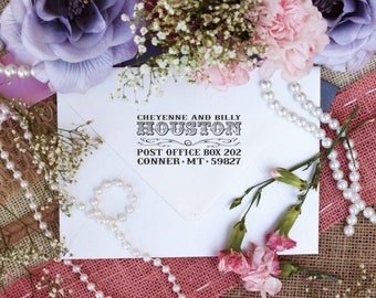 Personalized Custom Return Address Rubber Stamp, Wood Block, Clear Block, Vintage Western Wedding Address Stamper, Self Inking, Ink Pad