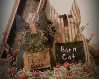 primitive black cat,prim barn cat, Halloween cat, OFG, FAAP, Fall decor, Halloween decor, cat tucks, cat bowl fillers, cat shelf sitters,