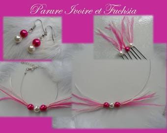 Feather ostrich Fuchsia and Ivory Pearl wedding jewelry set