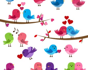 Valentine Birds Clipart Clip Art, Love Birds Lovebirds Clipart Clip Art - Commercial and Personal