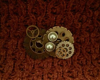 Steampunk pin twopearl