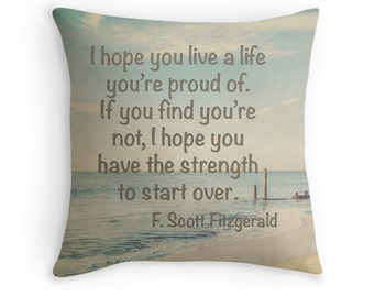 F. Scott Fitzgerald Typography Pillow Cover, Photo Pillow Cover, Inspirational home decor, great gatsby, Cape May NJ, english major gift