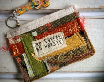 Upcycled Womens Purse, Coffee, Zip Pouch, Upcycled Zip Pouch, Assemblage Purse, Coin Purse, Coffee Quotes