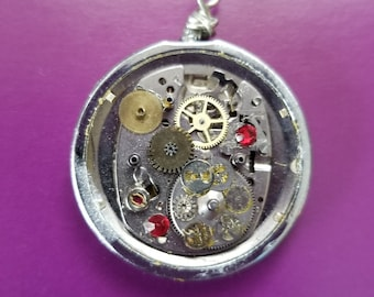 Steampunk OOAK Recycled Watch Parts Necklace