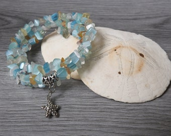 Blue Starfish Bracelet - Starfish Charm Bracelet - Sea Star Bracelet - Silver Starfish Bracelet - Beachcomber Bracelet - Blue Beach Wedding