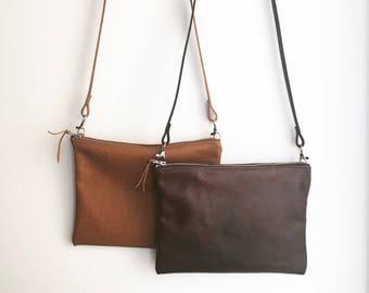 Leather crossbody bag / minimalist bag /Small leather bag /Black  wristlet  / tan brown leather bag / bridesmaid gift / gift for her