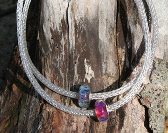 Sterling Silver Viking Knit Necklace with Lampwork Glass Bead (B)
