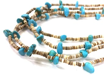 Zuni Heishi & Turquoise Long Double Strand Necklace Vintage 1970s Native American Handmade Jewelry