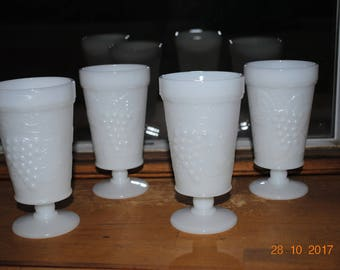 4- Vintage  Milk Glass  Footed Goblets in The Grape Pattern